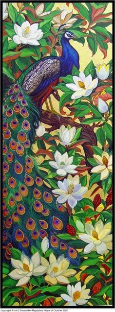 "PEACOCK'S GARDEN: Annie Chabrier ""Peacocks in Magnolia Tree"""