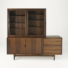 Anonymous; Rosewood, Birch and Glass Cabinets by Falster, 1960s.