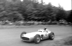 """gearheads and monkeywrenches      Juan Manuel Fangio, """"El Maestro.""""      5-time Formula 1 World Driver's Champion and winner with four different teams: Alfa Romeo, Ferrari, Mercedes-Benz, and Maserati. His championship in 1986 record stood for 46 years until it was broken by Michael Schumacher.      The images depict Fangio in 1952, Driving a Mercedes W196 at the Nürburgring in 1954, his Maserati team at the British GP in 1957, and him driving a W196 in 1986."""