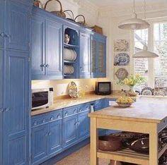 BLUE KITCHEN CABINETS (cocina rústica azu)l