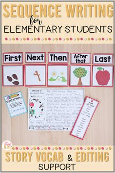 These sequence writing prompts are the perfect templates to support kindergarten, first, and second grade students as they are learning to retell stories and sequence events in their writing. These graphic organizers can be used in multiple ways to develop common core standards of writing and oral language skills. #teachingwriting #sequencewriting #sequenceevents