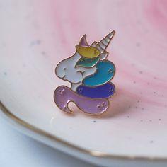 Unicorn Enamel Pin, Retro Pin Badge, Lapel Pin, Enamel Badge, Handmade (X3)