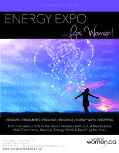 With guest Mediums Dana Jensen and Lisa By Grace-Goi!  A fantastic event, that you won't want to miss! Come on out and experience healing, readings, energy work, demonstration and more!  More info: http://www.answersforwomen.ca/special-events  @answersforwomen