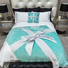 Tiffany Blue Box Inspired Personalized Decorative Throw Blanket Set