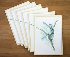 Note cards - blank notecard set - watercolor note cards - ballet card - thank you cards - pack of ballerina notecards - be my bridesmaid