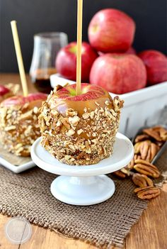 Easy Bourbon Caramel Apples with Pecans are a fun and tongue-tingling, gluten-free fall treat with just 4 ingredients! #glutenfree | iowagirleats.com