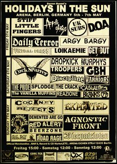 Canvas Giclees & Fine Art Prints by Annex Reproduction Holidays in the Sun Punk 3 Day Festival Show Poster (Berlin, Germany) with a lineup including: Stiff Little Fingers, UK Subs, DOA, Funeral Dress,