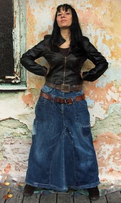 Recycled denim jeans street fashion long skirt. Made from recycled denim jeans. Remade, reused, upcycled. Comfortable and unique design. Hippie boho