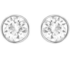 Elegant and minimalistic, this set of rhodium- plated pierced earrings is a true classic. Each earring has a solitaire clear crystal in a bezel... Shop now