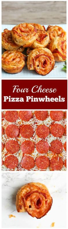 Four Cheese Pepperoni Pizza Pinwheels - These cheesy, flaky appetizers are quick and easy to make. They are perfect for the Super Bowl or any other party! Appetizer Sandwiches, Yummy Appetizers, Yummy Snacks, Appetizer Recipes, Snack Recipes, Cooking Recipes, Yummy Food, Pinwheel Sandwiches, Party Recipes