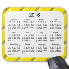 2016 Yellow Calendar by Janz Mouse Pad
