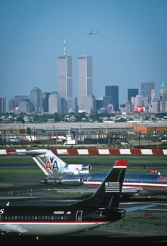 """""""Take a close look right above the NYC Twin Towers… that's not a bug! """"     taken 05/2001. #commercial aviation"""