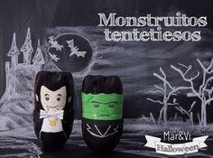 Monstruos tentetiesos, una manualidad infantil para Halloween muy fácil Divertida manualidad para Halloween con botellas de plástico.