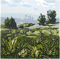 Michael Gage: Ashdown Forest linocuts, final stage