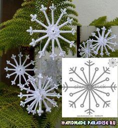 Crochet Christmas Ornaments, Christmas Crochet Patterns, Christmas Crafts, Christmas Decorations, Xmas, Thread Crochet, Crochet Crafts, Crochet Projects, Knit Crochet