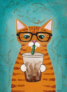 Iced Coffee Ginger Cat  Original Folk Art Painting by KilkennycatArt