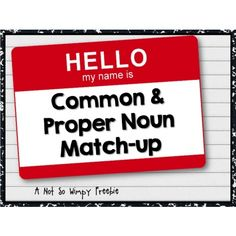 FREE: Reinforce common and proper nouns with this bright and colorful matching activity/game!
