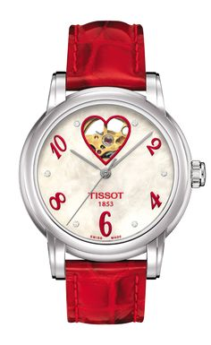 Tissot Lady Heart Womens Mother-of-pearl Automatic Classic Dress Watch Cool Watches, Unique Watches, Women's Watches, Parisian Style, Watch Sale, Automatic Watch, Red Leather, Pearls, Lady