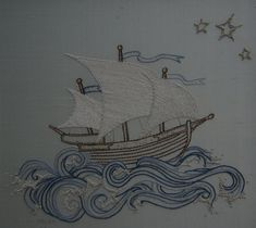 Hand Embroidery pattern pirate ship. Embroidery by Taetia on Etsy
