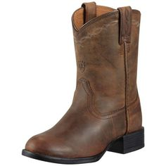 Ariat Heritage Roper Kids Distressed Brown $139.95 Hard working and built for the toughest kids. Just like dads boots these are perfect in the yards or in the saddle.