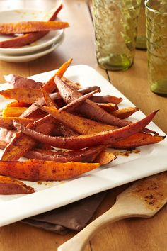 Sweet potato fries are a versatile side that can be served in a sweet or savory variety.