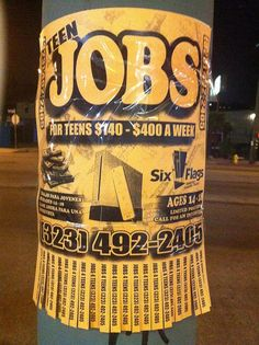 """There's a reason why these ads for """"Teen Jobs"""" are posted on poles all over Highland Park and not found in schools where actual teens can be found. It's because they're just a scam to exploit child labor by sending kids door to door to try and sell c http://thejobsfor13yearolds.com/summer-jobs-for-13-year-olds/  http://thejobsfor13yearolds.com/babysitting-jobs-for-13-year-olds/"""