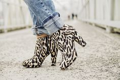 leopard ankle boots, cuffed jeans