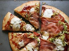 Brussels Sprouts-Proscuitto Pizza with Loquat Jam | fullandcontent.com