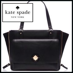 """🔴Take 20% off sale🔴 Kate Spade Leather Handbag SIZE 10.3""""h x 12.7""""w x 5.3""""d drop length: 8.5"""" MATERIAL soft smooth cowhide capital kate jacquard lining 14-karat light gold plated hardware  DETAILS top handle with adjustable side zippers interior zip and double slide pockets exterior pocket with flap closure kate spade Bags"""