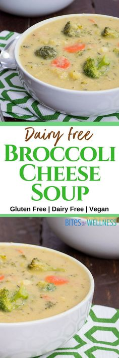 One pot, healthy vegan broccoli cheese soup is sure to make any dinner special. This broccoli cheese soup only takes 25 minutes, and is packed with added veggies, fiber and protein! Vegan, gluten free, dairy free, and delicious! | https://bitesofwellness.com