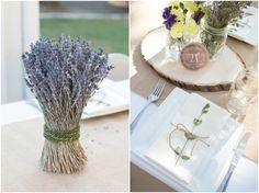 Tangled Inspired 21st Birthday: Rustic Lavender and Yellow. Gorgeous rustic table setting with dried lavender bunches, mason jars, wood cuts and burlap. Easy muslin napkins tied with jute twine and a cute green plant.