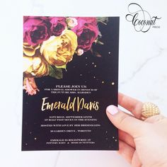 Floral + Gold Invitations // Kate Spade Bridal Shower // Black, Floral, and Gold // Invitations & Design by Coconut Press 70th Birthday Invitations, Gold Invitations, 30th Birthday, Boutique Design, A Boutique, Wedding Events, Wedding Ideas, Bridal Shower, Baby Shower