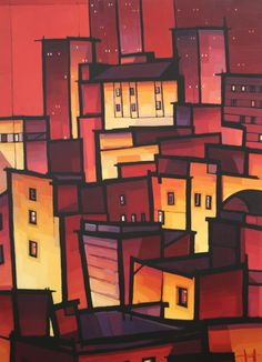 Love this print, Cityblock I, by Jim Edwards. I always thought it would make a stunning quilt. Unique Buildings, City Buildings, Cityscape Art, Professional Painters, Building Art, Landscape Paintings, Landscapes, Art Images, Art History