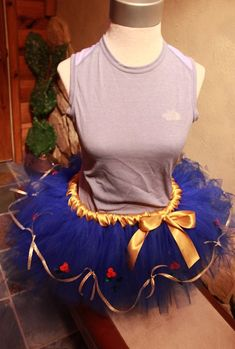 Adult Running Marathon Disney Princess ANNA from the movie FROZEN inspired tutu skirt with gold ribbon red rose flowers and green leaf embellishments by HandpickedHandmade on Etsy, $21.99