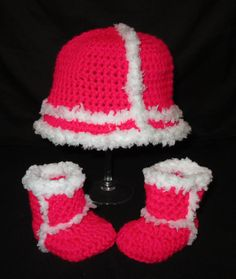 Crochet Ugg Inspired Baby Hat an Booties only $35 when purchased in a set
