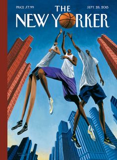 """Basketball players are tall and lean, like the buildings in Manhattan, and New York is famous for basketball games in pickup playgrounds,"" Mark Ulriksen says of ""Streetball,"" his cover for the September 28, 2015 issue. http://nyr.kr/1GeM0Lh"
