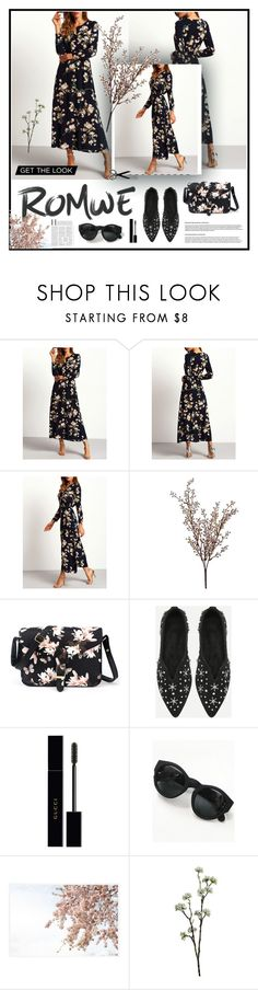 """""""Navy Log Sleeve Floral Maxi Dress"""" by tumblin-away ❤ liked on Polyvore featuring Wyld Home, Gucci and Pottery Barn"""