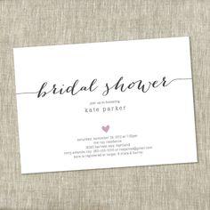 bridal shower invite heart shower invite simple modern bridal shower invite simple shower invite printable diy