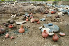 Clay jugs of a factory that was part of a larger industrial complex at Pyrgos, used to make and store ancient perfumes lie at an excavation site on the Mediterranean island of Cyprus.