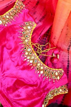 Pink raw silk blouse with mirror and golden threds.. get it done at mytailor.in
