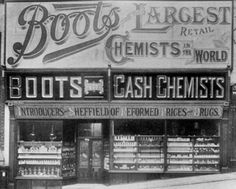 Boots Pharmacy (UK) - Logo designed in 1883 by Jesse Boot Uk History, London History, Local History, Antique Photos, Vintage Photographs, Boots Pharmacy, Pharmacy Design, Pharmacy Images, Victorian London