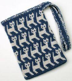 crochelinhasagulhas: Bolsa com gato em crochê