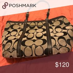 Black and grey Coach tote 3 pockets inside (one zips), can fit a laptop to use for work Coach Bags Totes