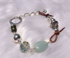 Smooth Sea foam amazonite silver leather LOVE charm bracelet by Intentional, $44.00