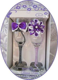 Wedding Glasses.Price 15 € / 17 $. http://handmadebydianapuiu.com/pahare-miri-nasi/