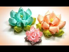 Воздушный лотос из лент, канзаши, МК / DIY satin ribbon flower, kanzashi - YouTube