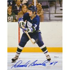 Andre Boudrias Vancouver Canucks Autographed 8x10 Photograph signed in blue sharpie.