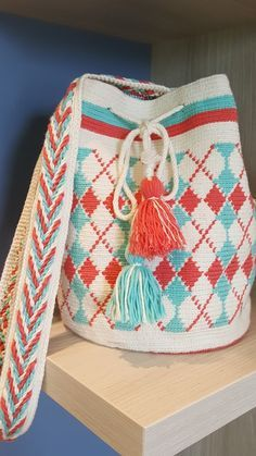 mein Wayuu Mochila Crochet Backpack, Crochet Tote, Crochet Handbags, Crochet Purses, Hand Crochet, Knit Crochet, Wiggly Crochet, Tunisian Crochet, Filet Crochet