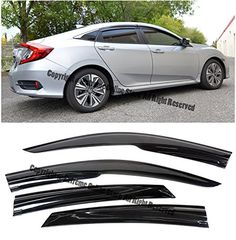 Extreme Online Store Replacement for 2016-Present Toyota Prius /& Prius Prime EOS Visors JDM Mugen Style Smoke Tinted Side Vents Rain Guard Window Deflectors