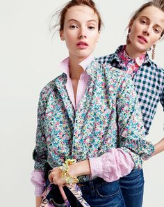 J.Crew women's ruffle button-up shirt in Liberty Art Fabrics Claire-Aude floral, gathered popover shirt in microgingham and petal brûlée bracelet. J.Crew women's gingham popover shirt in blue and lilac, boy shirt in brushstroke marigold and crystal wreath earrings.